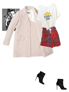 """sunny day. plaid skirt heels tee shirt and coat"" by kohlanndesigns ❤ liked on Polyvore featuring Vivienne Westwood, Dolce&Gabbana, bestof2015, skirt, plaid, fashionset, Boots and shopping"