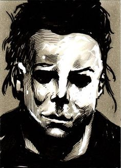 July 01 2014 Daily Sketch Card - Michael Myers from Todd Beistel Comic & Pop Art Halloween Film, Halloween Series, Best Horror Movies, Horror Films, Arte Horror, Horror Art, Halloween Resurrection, Slasher Movies, Season Of The Witch