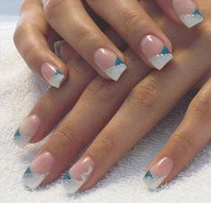 French Manicure Swirl | Silver swirl nails image
