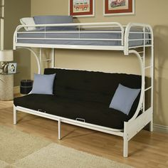 "Eclipse White Twin/ Full Futon Bunk Bed (78 x 41"" x 65""H, White)"