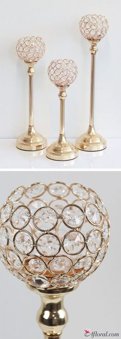 These crystal ball candle holders in gold will give your glam wedding all the glitz and glam it will need!