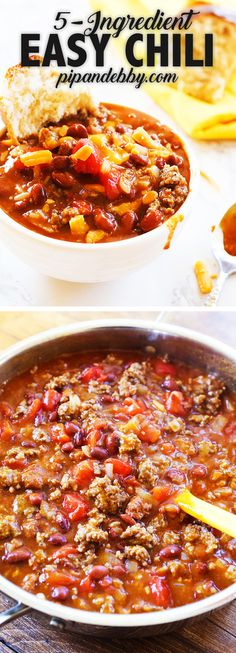 This Easy Chili recipe requires only five ingredients! Transform canned chili into a hearty and comforting meal. No one will ever know you cheated! #chilirecipe #easychili