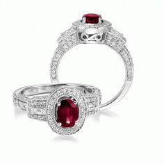 Oval Shape 5x7 Ruby Engagement Ring