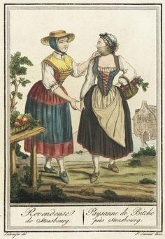 Costumes de Différent Pays, 'Revendeuse de Strasbourg/ Paysanne de Bitche près Strasbourg' (Suits Different Country, 'retailer / Strasbourg Strasbourg near Bitche Paysanne') Jacques Grasset de Saint-Sauveur circu 1797