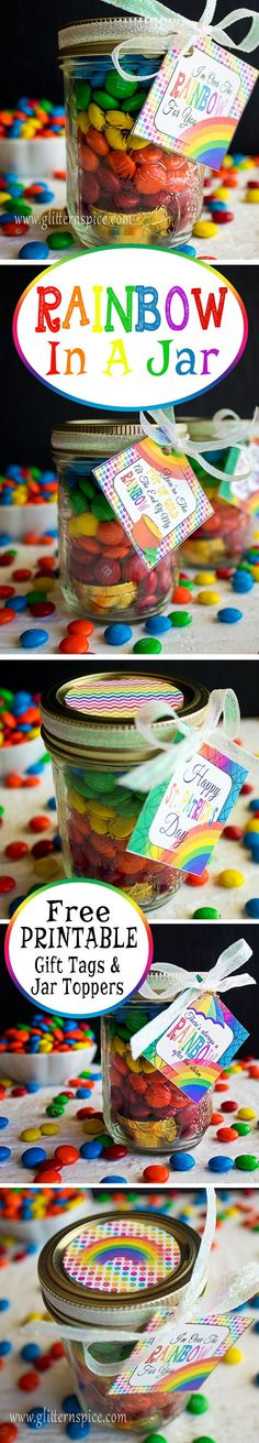 Rainbow In A Jar | Free Rainbow Printables. These make sweet gifts and party favors for St. Patrick's Day