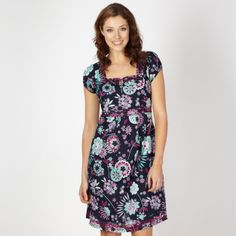 Mantaray Maternity Navy floral square neck dress