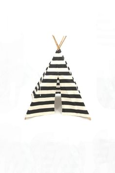 Teepee Play Tent featured in Kourtney Kardashians home with poles black and natural stripe- 4 panel $115