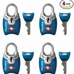 Tsa Padlocks With Keys 4 Pack Safe Luggage Locks Baggage Suitcase Lock Safe Mast