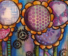"Diane Salter doodles on her final collage using her 4"" and 6"" round #Gelli prints... ! My Art Journal: Round Gelli Plate Tutorial Part 2"