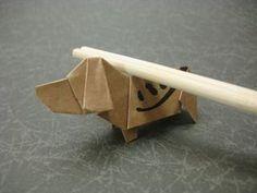 箸袋で折るビーグル犬 - 創作折り紙の折り方・・・