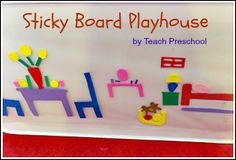 MANIPULATIVES: Invite your child to enjoy a little pretend play with an easy peasy DIY sticky board playhouse! Fine Motor Activities For Kids, Preschool Crafts, Preschool Activities, Crafts For Kids, Teach Preschool, Preschool Classroom, Toddler Teacher, Toddler Preschool, Family Theme