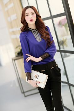 Long Sleeve, Chiffon, Blouse, Lace, Metal Ornaments, YRB2102, YRB Fashion, Good-Looker, Free Shipping, online Clothing, Womens