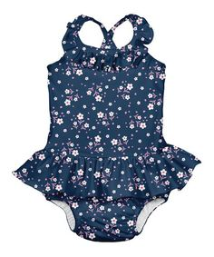9a16594eb0edc i play Navy Posies Swim Diaper Ruffle Skirted One-Piece - Infant & Toddler