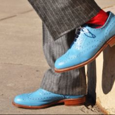 Light blue shoes.