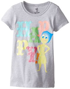 """Disney Girls' Inside Out Joy shirt - """"Happy"""", Heather Grey and short sleeved top"""