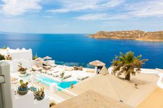 The only luxury boutique hotel in Mykonos, Greco Philia offers 30 unique suites and villas all offering sea view, some with private pools or hot tubs. Mykonos Hotels, Private Pool, Villa, Rooms, Sea, Luxury, Amazing, Outdoor Decor, Quartos