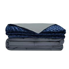Quility Premium Adult Weighted Blanket & Removable Cover - 20 lbs - - for Individual Between lbs - Full Size Bed - Premium Glass Beads - Cotton/Minky - Grey/Navy Blue Color Weighted Blanket For Adults, Best Weighted Blanket, Cool Toddler Beds, Single Size Bed, Heavy Blanket, Blanket Sizes, Navy Blue Color, Pink Color, Cotton Blankets