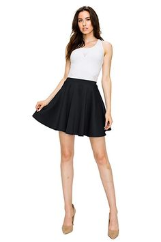 cb9690ba5c4a Made By Johnny Women's Basic Versatile Stretchy Flared Skater Casual Mini  Skirt XS-XXL Plus Size Made in USA at Amazon Womens Clothing store: