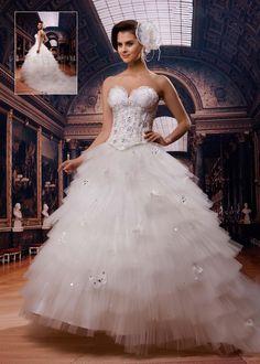 أنيقة بثوب الكرة الحبيب الكشكشة الكاتدرائية فستان الزفاف فساتين زفاف فاخرة