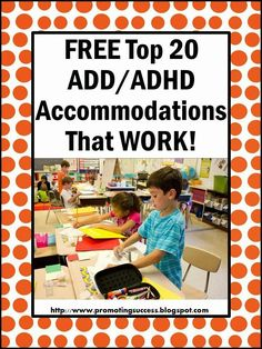 top 20 ADHD accommodations and modifications . typically, children diagnosed with ADHD have developmentally inappropriate behavior, including poor attention skills, impulsivity and hyperactivity. Behaviour Management, Classroom Management, Adhd Accommodations, Adhd Strategies, Adhd And Autism, Add Adhd, Adhd Help, School Social Work, Classroom Behavior