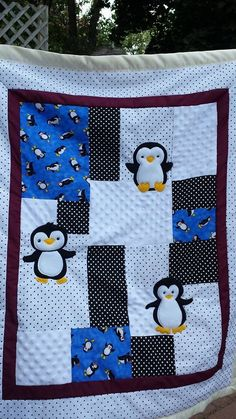 Fleece/cotton/flannel baby blanket by Seamsations on Etsy, $45.00 Flannel Baby Blankets, Flannel Quilts, Penguin Nursery, Baby Penguins, Penguin Baby, Cot Quilt, Cute Baby Gifts, Baby Bedding Sets, Baby Registry