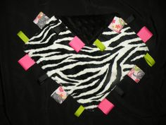 Baby taggie blanket - zebra with black - double sided minky. $14.00, via Etsy.