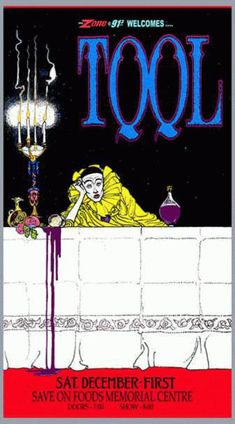 Original concert poster for Tool at Save On Foods Memorial Centre in Victoria, BC Art by Bob Masse 13 x 24 on card stock. Rock Posters, Band Posters, Music Posters, Concert Flyer, Concert Posters, Psychedelic Artists, Psychedelic Music, Tool Poster, Gig Poster