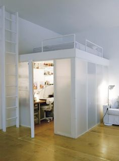 mezzanine bed - holy crap So cool - could do this in my room! I could have a living room and bed room in one! Girl Bedroom Designs, Room Ideas Bedroom, Small Room Bedroom, Small Rooms, Bedroom Decor, Room To Room, Space Saving Bedroom, Bed Room, Mezzanine Bedroom