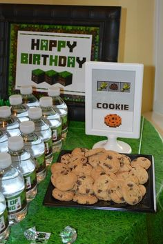 Minecraft Birthday Party cookies!  See more party ideas at CatchMyParty.com!