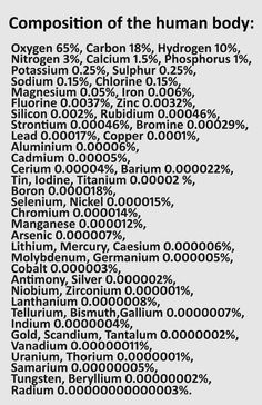 The list of ingredients of a human body.