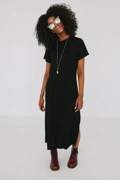 Saint or Sinner Maxi T-shirt Dress (Black) – Parooz Fashions
