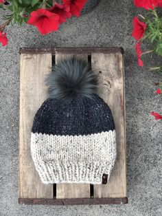 2b43acd710c Color Block Hand Knit Beanie Wool Blend Faux Fur Pom Pom Hat