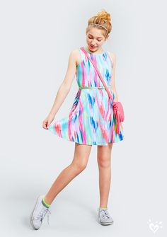 Today's to do: dress for fun. A playful look like this splashy fit and flare dress should do the trick. Check and check!