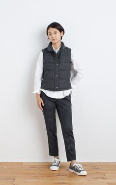 MUJI | RECLAIMED WOOL MIX FRENCH DOWN VEST | OGC WASHED OXFORD BUTTON DOWN SHIRT | WASHABLE WOOL STRETCH EASY ANKLE TROUSERS (PATTERN)