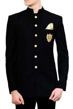 Mens Black Jodhpuri Suit with pocket embroidered Motif Suit Jacket Mens Indian Wear, Indian Men Fashion, Mens Fashion Suits, Mens Suits, Indian Wedding Clothes For Men, Wedding Dress Men, Wedding Suits, Prince Suit, Blazer Outfits Men