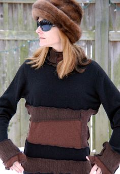 Recycled Sweater Cashmere Black and Brown RESERVED by archeologia