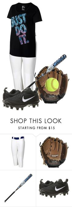 """""""Playin my first year of softball"""" by southern-prep-374 ❤ liked on Polyvore featuring Russell Athletic, Rawlings, Louisville Slugger and NIKE"""