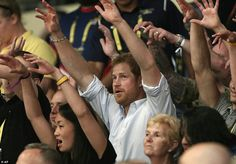 Britain's Prince Harry cheered on the rest of his countrymen during the wheelchair rugby competition event at the Invictus Games