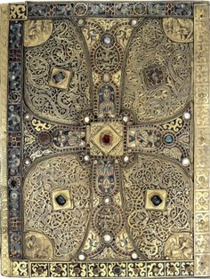 archivalia:    v  f-featherbrain:    Back cover of the Lindau Gospel. Carolingian, late 8th century. Silver gilt, garnet and enamel.  From Attila to Charlemagne: Arts of the Early Medieval Period in The Metropolitan Museum of Art  The Metropolitan Museum of Art, 2000    l