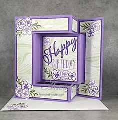 Fancy Fold Card with Bouquet Blooms – Lavender Thoughts A sister of mine had a 'big' birthday last week and I wanted to make a special card for her. I have seen various versions of this type of fancy fold and decided I would do my own interp… By R Tri Fold Cards, Fancy Fold Cards, Folded Cards, Joy Fold Card, Card Making Templates, Card Making Tutorials, Making Ideas, Owl Templates, Applique Templates