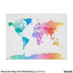 Aquarell-Karte der Weltkarte Poster