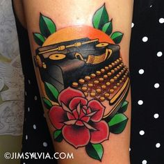 Another lovely typewriter tattoo. Unique Tattoos, New Tattoos, I Tattoo, Tattoos For Guys, Cool Tattoos, Awesome Tattoos, Tatoos, Typewriter Tattoo, Teacup Tattoo