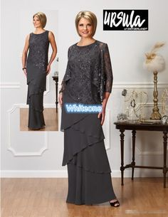 Dark Gray Chiffon Long Evening Dresses 2016 Elegant Scoop Neck With Free Jacket Mother Of Bride Dresses Custom Made Cheap Skirt With Tiers
