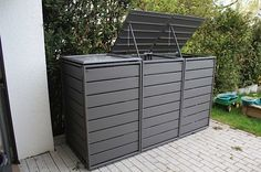 Garbage bin box gray aluminum - 3 series with folding roof Classic Garbage Can Storage, Garbage Shed, Storage Bins, Small Courtyard Gardens, Small Courtyards, Small Backyard Design, Garden Design, Bin Store Garden, Bin Shed