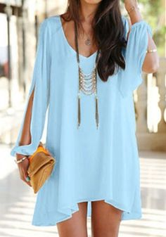 Sky Blue Plain Irregular Split Sleeve V-neck Chiffon Dress - Mini Dresses - Dresses
