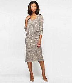 Alex Evenings Woman Lace Tea-Length Jacket Dress