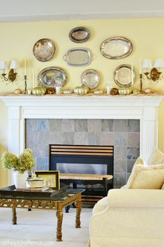 Fall Living Room with vintage silver platter mantel