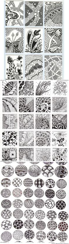 Zentangle Patterns & Ideas - I thought they were just doodles.but I guess its a zentangle pattern. Doodles Zentangles, Zentangle Drawings, Doodle Drawings, Doodle Art, Zen Doodle, Tangle Doodle, Doodle Patterns, Zentangle Patterns, Doodle Borders