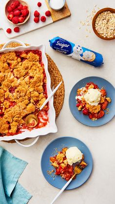 An Apple Strawberry Cookie Cobbler you'll want to gobble up! with Sugar Cookie Dough Pillsbury Recipes, Baking Recipes, Snack Recipes, Dessert Recipes, Yummy Treats, Sweet Treats, Yummy Food, Easy Desserts, Easy Dinner Recipes