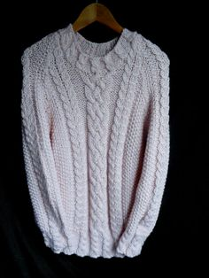 This hand knit wool sweater is full of texture with its unique cable designs; Ash Color, Wool Sweaters, Hand Knitting, Men Sweater, Designs, Unique, How To Make, Handmade, Etsy